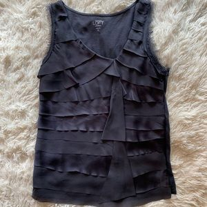 ann taylor petite ruffled gray tank top